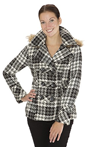Fur Peacoat ((8002) Dollhouse Classic Faux Wool Double Breasted Pea Coat with Fur Trim Hood in CocoPlaid Size: M)