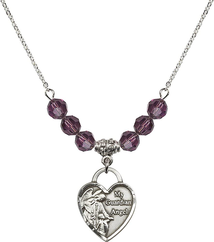 18-Inch Rhodium Plated Necklace with 6mm Amethyst Birthstone Beads and Sterling Silver Guardian Angel Heart Charm.