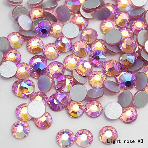 BeesClover New Deals 1440pcs/pack SS20 Crystal with Glue On Flatback M-foild Non-hotfix Crystal Glass Rhinestone for Clothes Light Rose AB