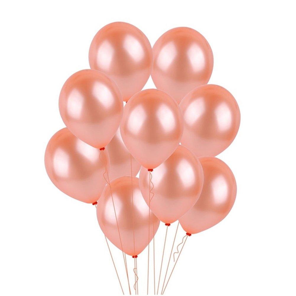 Sukisuki 100 Pcs Rose Gold Pearly Luster Balloon Wedding Party Birthday Hanging Decor Rose Gold