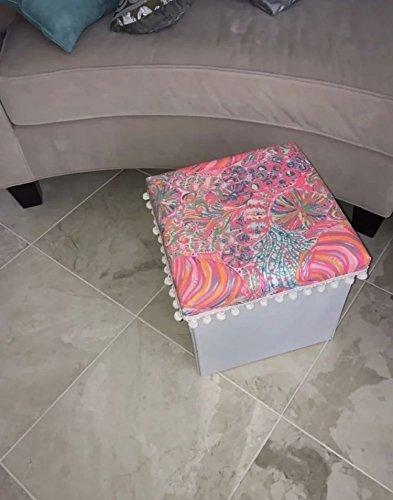 Tremendous Amazon Com Storage White Ottoman Lilly Pulitzer Swish Fish Inzonedesignstudio Interior Chair Design Inzonedesignstudiocom