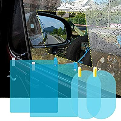 ENJU 4 Pcs Car Rearview Mirror Film Anti Fog Glare Rainproof Waterproof Mirror Film HD Clear Nano Coating Car Film for Car Rear View Mirrors and Side Windows: Automotive