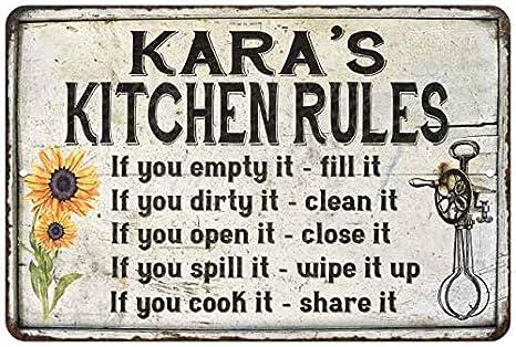 Amazon Com Kara S Kitchen Rules Chic Sign Vintage Decor 12