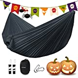 """NEW UPGRADED HAMMOCK  Can be used as sunshade, camping/beach blanket, swing chair, warm blanket etc. Capacity:550lbs, Size:102""""x55"""". Best hammock for family camping.  PACKED DIMENSIONS  6 in (tall) x 5 in (diameter); Weight:1.3lbs; Its small size mak..."""