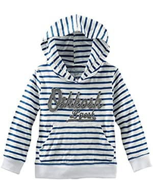 OshKosh Hooded Jersey Pullover Blue Stripe 24M