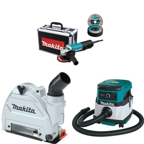 Makita 9557PBX1 4-1/2-Inch Angle Grinder with Aluminum Case with Makita 196846-1 Dust Extracting Tuck Point Guard, 5 inch with Makita XCV04Z 18V X2 LXT Lithium-Ion Cordless/Corded Dry Vacuum, 2.1 gallon