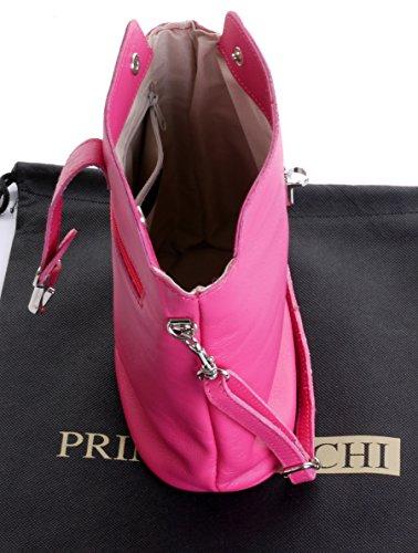 Primo Shoulder Leather Sacchi Bag Hand Italian Pink Strap Made Adjustable Cross or Handbag Body aFqra