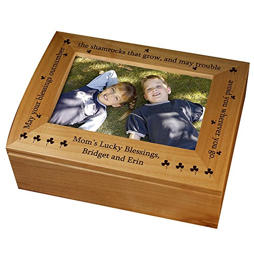 GiftsForYouNow Personalized Irish Blessing Photo Keepsake Box, Oak, Displays 4x6 Picture