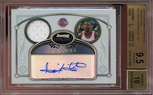 2006-07-bowman-sterling-refractors-33-ISIAH-THOMAS-JERSEY-AUTO-BGS-95-auto-10-Graded-Card