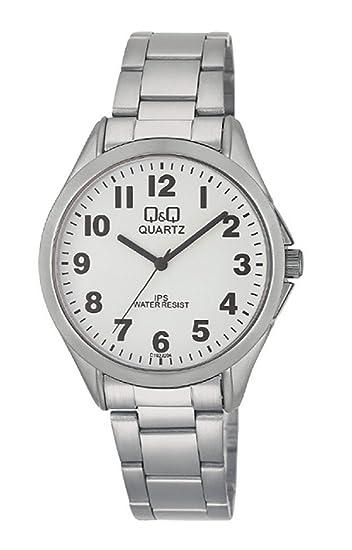 Q&Q Reloj caballero plateado con números arabes