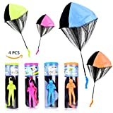 YoungRich 4 PCS Parachute Toy Tangle Free Throwing