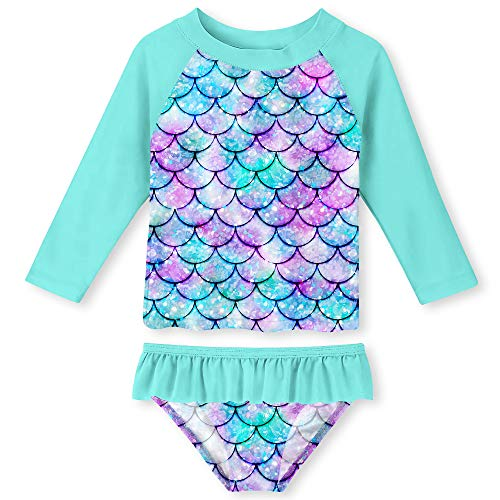 UNIFACO Little Toddler Girls Bathing Suit Rashguard Set 2 Pieces Novelty Fish Scale Long Sleeve Tankini Sun Protection ()
