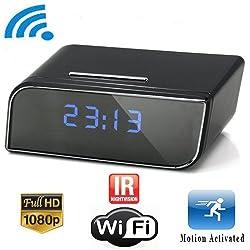 DareTang P2P Wifi Pinhole Hidden Alarm Clock Camera Mini Spy Clock Camera, P2P Remote Control Wi-fi Live View (Real-time Video By Wifi Mobile Phones, Computer) with 12pcs X-red Night Vision Online Camera,1080P