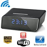 DareTang P2P Wifi Pinhole Hidden Alarm Clock Camera Mini Spy Clock Camera, P2P Remote Control Wi-fi Live View (Real-time Video By Wifi Mobile Phones, Computer) with 12pcs X-red Night Vision Online Camera,1080P
