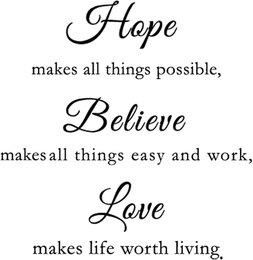 Hope Belive Love Art Words Wall Decal Sticker Quotes, DIY Family Inspirational Saying Wallpaper Creat Warm and Loving Atmosphere Home Decor