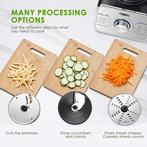 Food Processor 12-Cup, Multi-Function Food Processor 6 Main Functions with Chopper Blade, Dough Blade, Shredder, Slicing Attachments, 3 Speed 600W Powerful Processor, Silver by Tibek (Image #3)