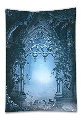 Enchanted Garden Costume (Beshowereb Fleece Throw Blanket Fantasy House Decor Passage Doorway Through Enchanted Foggy Magical Palace Garden Night Scenery Bedroom Living Room Dorm Decor Navy Gray.jpg)