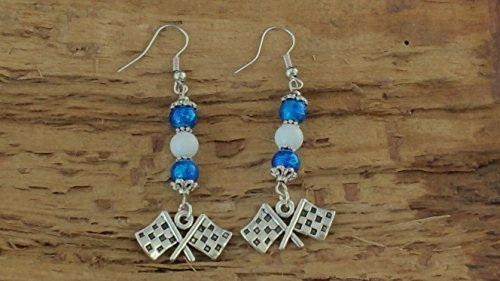 NASCAR Inspired Checkered Flag Earrings - Blue and ()