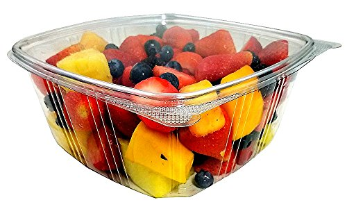 lon-Size) RPET Clear Plastic Hinged Lid Deli Meal Prep Fruit Salad Display Food Storage Containers 100% BPA Free (Pack of 100) (Recycled Side Tab Closure Storage)
