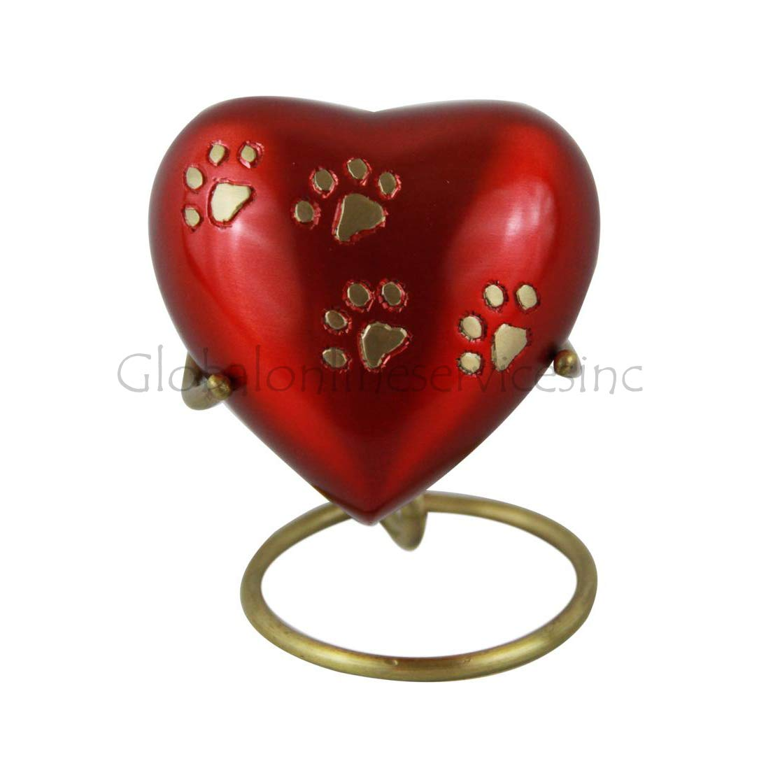 Pet Memorial Keepsake Urn UK Red Heart Small Brass Cremation Urn Ashes UK