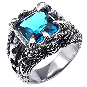 KONOV Mens Crystal Stainless Steel Ring, Gothic Dragon Claw, Blue, Size 9