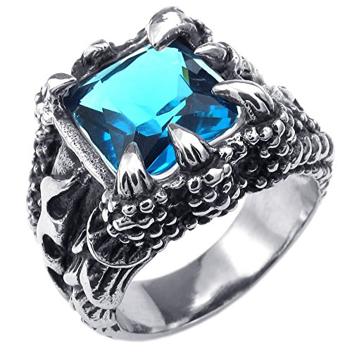 - KONOV Mens Crystal Stainless Steel Ring, Gothic Dragon Claw, Blue, Size 9