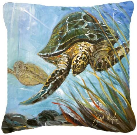 Caroline s Treasures JMK1261PW1818 Loggerhead Sea Turtle Canvas Fabric Decorative Pillow, 18H x18W, Multicolor
