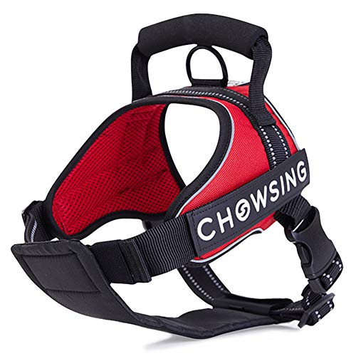 Nourse CHOWSING Dog Harness-No Pull Dog Harness Adjustable Outdoor Dog Vest Harness 3M Reflective Oxford Material Easy Walk and Easy Control Harness for Medium Dogs (Protector Harness Chest Adjustable)