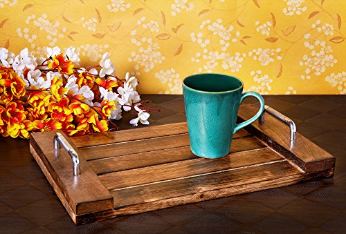 Communion Ware Brass (Wooden Serving Tray with Handle for Tea Snack Dessert Kitchen Dining Serve-ware Accessories - Mango Wood Beautiful Gift on all Occasions.)