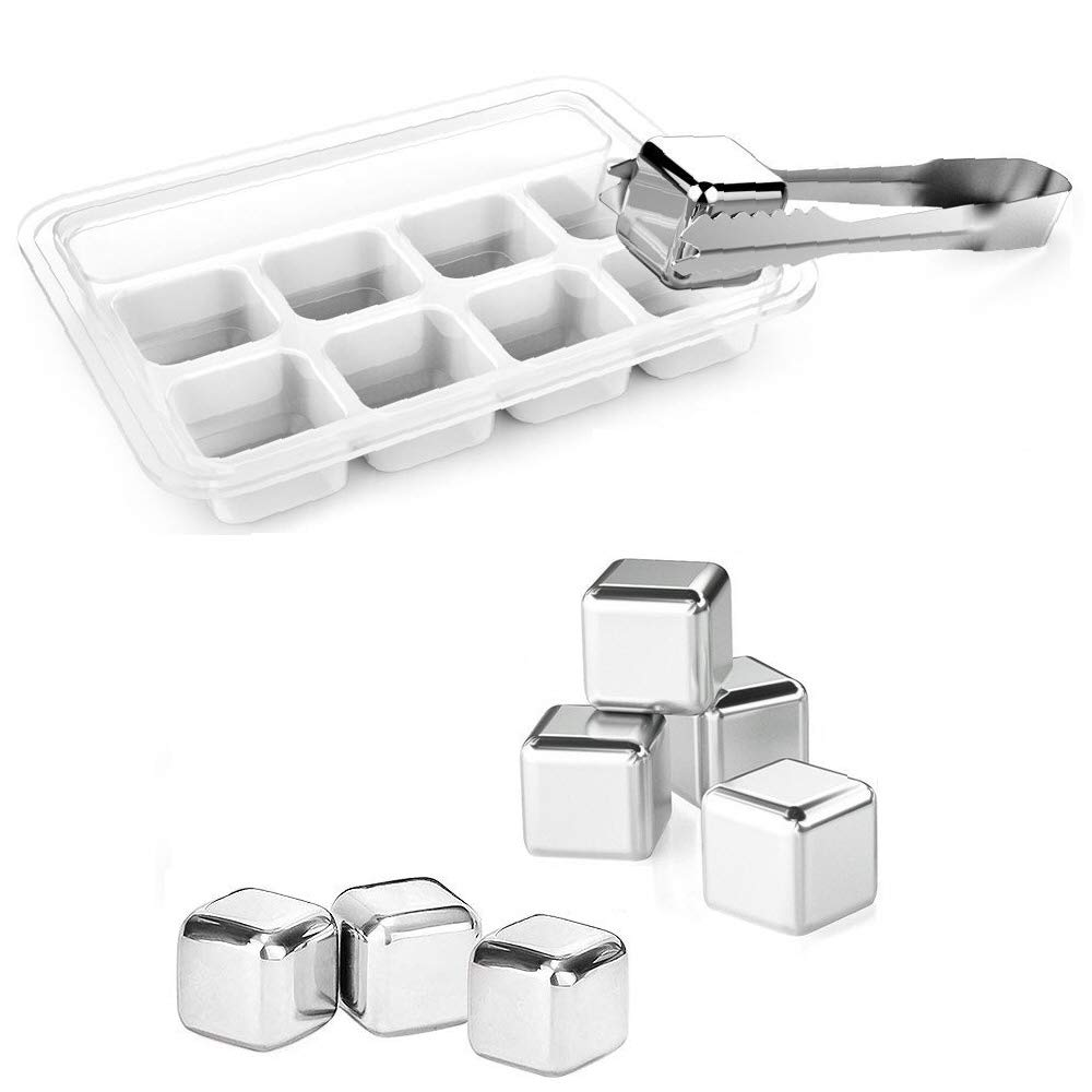 Stainless Steel Reusable Ice Cubes (Pack of 8), PTTECH Whiskey Stones + Chilling Stick Will Cool Your Drinks.Stainless Steel Ice Cubes Will Never Leak, Melt, or Leave Rock Dust in Your Drinks!