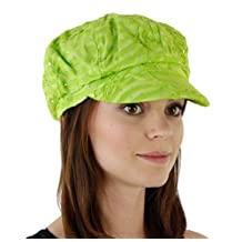 Glitter Sequin Newsboy Cap with Sparkle Flower (Lime Green with Flowers)