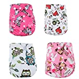 WCHUANG Baby Girls Washable Reusable Cloth Diapers, Adjustable Snap Set of 4 (4)