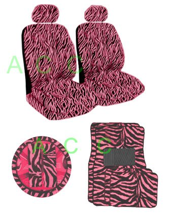 11 Piece Safari Animal Print Auto Interior Gift Set - 2 Pink Zebra Low Back Front Bucket Seat Covers with Separate Headrest Cover, 1 Pink Zebra Steering Wheel Cover,2 Pink Zebra Shoulder Harness Pressure Relief Cover, 2 Pink Zebra Front Floor Mats, and 2 Rear Floor Mats