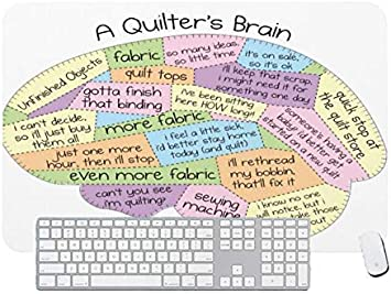 Gaming Mouse Pad Quilters Brain for Desktop and Laptop 1 Pack 1200x600x3mm//47.2x23.6x1.1 in