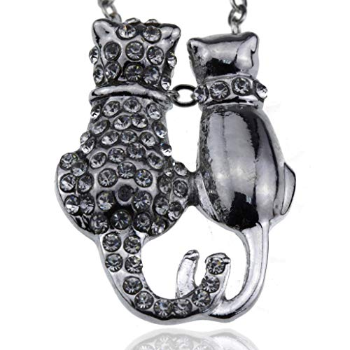 Cat Collars Swarovski (Silver Crystal Two Cats Charms Mood Necklace - Fashion Jewelry Accessories Women Girls and Teen Girls)