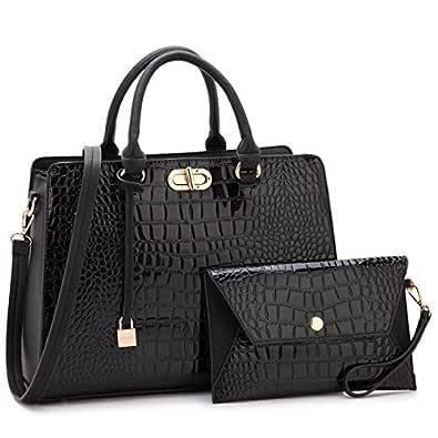 Beautiful Croco Leather Briefcase Computer Laptop Bag for Women Handbags Top Handle Satchel Purse Business Bag Black Size: One_Size