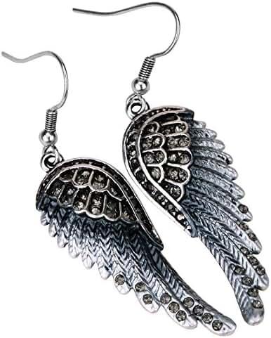 Angel Jewelry Women's Crystal Angel Wings Dangle Earrings