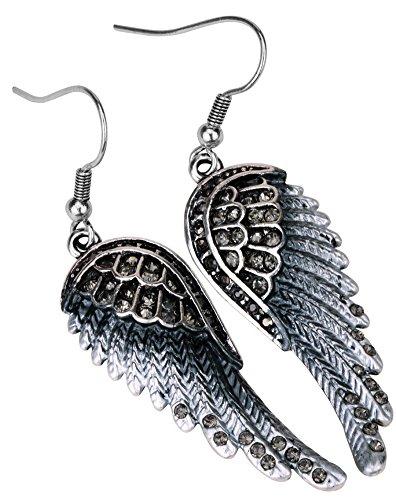 Angel Jewelry Women's Crystal Angel Wings Dangel Earrings Biker Jewelry (Grey) ()