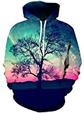 TUONROAD Unisex Youth & Adult Hoodie Shirt Black Tree Branch Turquoise Pink Sunset Glow Clouds Cool Hip Hop Novelty Sweatshirt Mens Womens Athletic Pullover with Big Kangaroo Pocket Front