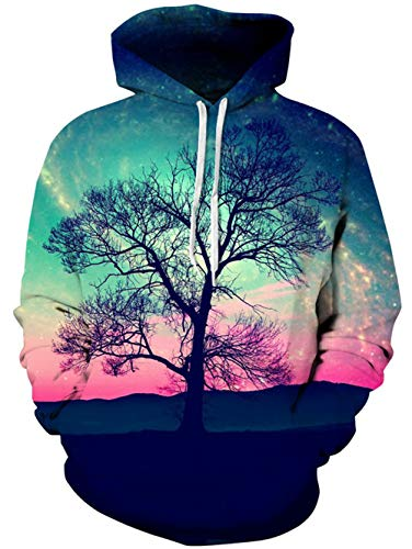 TUONROAD Unisex Youth & Adult Hoodie Shirt Black Tree Branch Turquoise Pink Sunset Glow Clouds Cool Hip Hop Novelty Sweatshirt Mens Womens Athletic Pullover with Big Kangaroo Pocket Front by TUONROAD