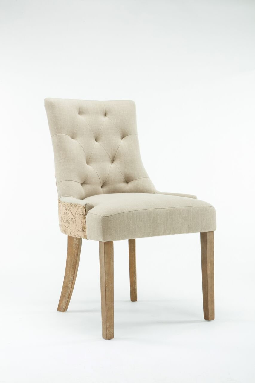 Boraam Jeremiah Side Chair Set Of 2 , 24 x 21.75 x 36 , Cream Natural