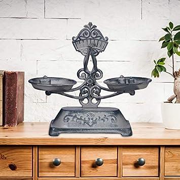 Relaxdays, 24 x 27 x 10,5 cm Balanza Antigua de Decoración, Hierro Fundido, Gris-Negro: Amazon.es: Hogar