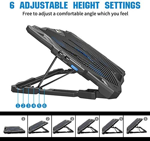 Pccooler Laptop Cooling Pad, Portable Laptop Stand with 6 Angle Adjustable & 5 Quiet Blue LED Fans for 12-17.3 Inch Gaming Laptop, Laptop Cooler Built-in Dual USB Ports Support Mouse Device, Keyboard 51LBIDGRaGL