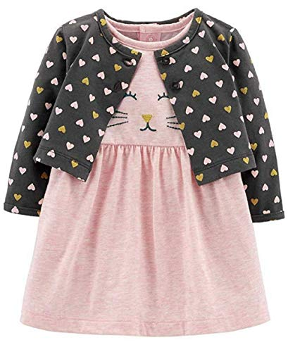 (Carter's Baby Girls Bodysuit Dress Kitty face Matching Polka dot Heart Cardigan)