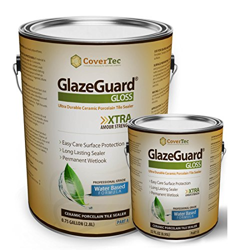 GlazeGuard Gloss Floor Sealer Wall Sealer for Ceramic, Porcelain, Stone Tile Surfaces (1 Gal -Prof Grade (2) Part Kit) by GlazeGuard by CoverTec