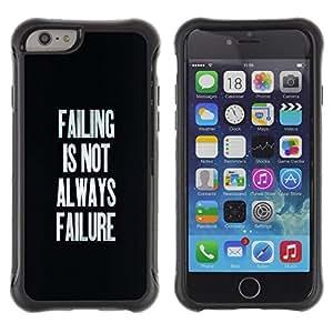 Suave TPU Caso Carcasa de Caucho Funda para Apple Iphone 6 / Failing Success Inspirational Text Black / STRONG