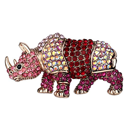 EVER FAITH Women's Austrian Crystal Party Rhinoceros Animal Brooch Pin Pink Gold-Tone