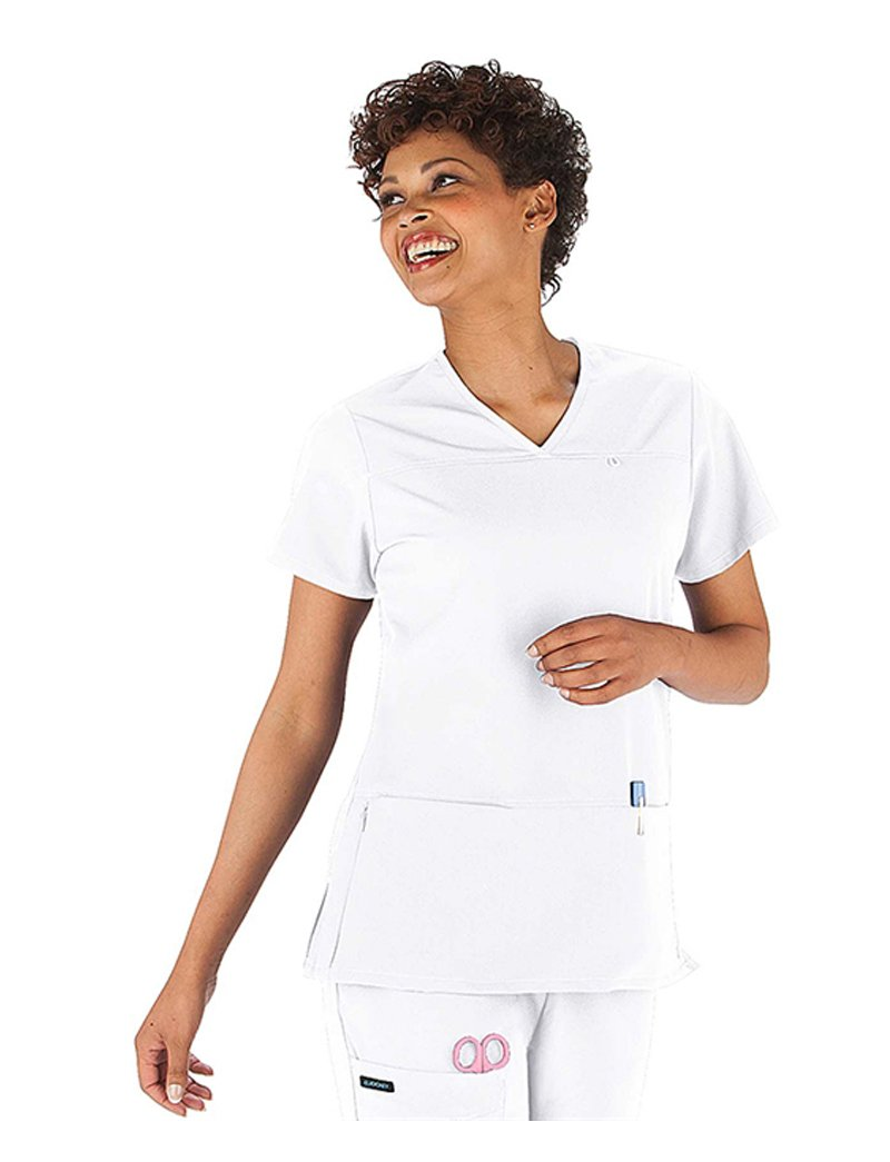 Classic Fit Collection by Jockey Women's 6 Pocket Solid Scrub Top X-Large White