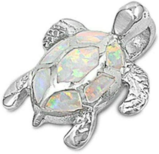 White Opal Beach Turtle .925 Sterling Silver Pendant