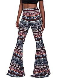 Herose Ladies Soft Ethnic Boho Pattern Bell Bottom Floor Length Flared Pants S-2XL